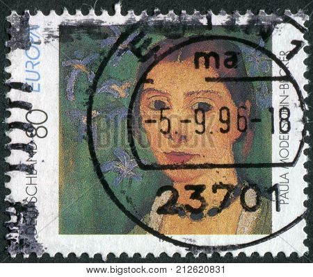 GERMANY - CIRCA 1996: Postage stamp printed in Germany shows a self-portrait by Paula Modersohn-Becker circa 1996