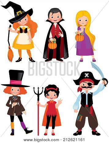 Set fabulous Halloween characters. Boys and girls in the costumes of a Halloween party