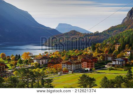 MOLVENO - 01 NOVEMBER 2017 - Architecture of Molveno, Trentino Alto Adige, Italy, Europe