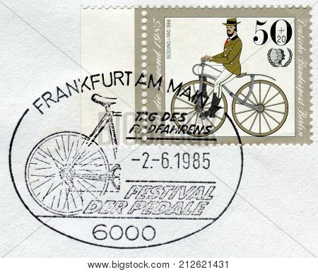 GERMANY - CIRCA 1985: Postage stamp printed in Germany (West Berlin) depicted Antique Bicycles: Bussing bicycle 1868 circa 1985
