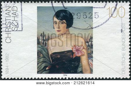 GERMANY - CIRCA 1994: Postage stamp printed in Germany Paintings 20th century shows Maika by Christian Schad circa 1994