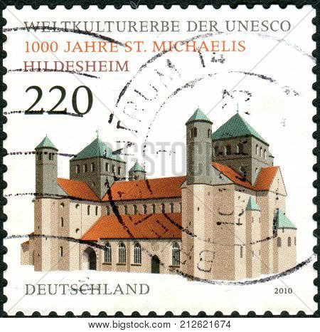 GERMANY - CIRCA 2010: Postage stamps printed in Germany dedicated to the 1000th anniversary of St. Michael's Church in Hildesheim circa 2010