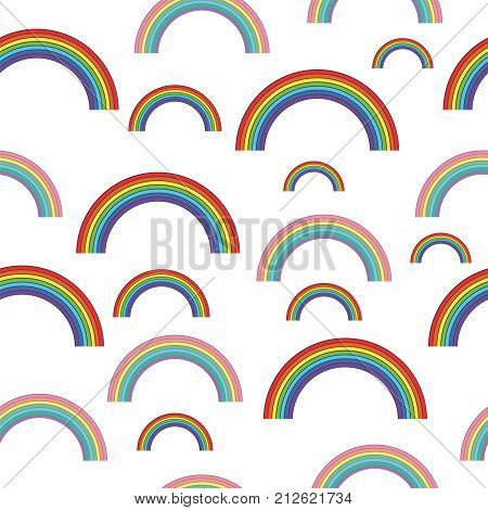Pastel rainbows - oldschool seamless pattern. Abstract colorful ornament. Vector illustration.