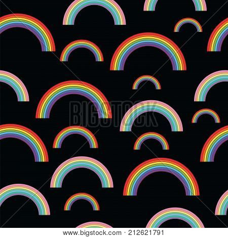 Pastel rainbows on black background - oldschool seamless pattern. Abstract colorful ornament. Vector illustration.