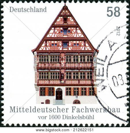 Germany - Circa 2012: Postage Stamps Printed In Germany, Shows A Half-timbered Building In Central G