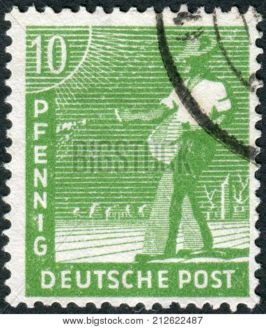 GERMANY - CIRCA 1948: Postage stamp printed in Germany shows the sower circa 1948