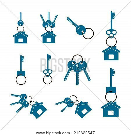 badges in the form of keys and keychain set isolated