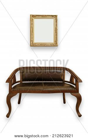 vintage bench and mirror on white background