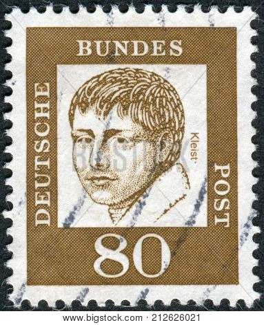 GERMANY - CIRCA 1961: Postage stamp printed in Germany shows portrait of Heinrich von Kleist circa 1961