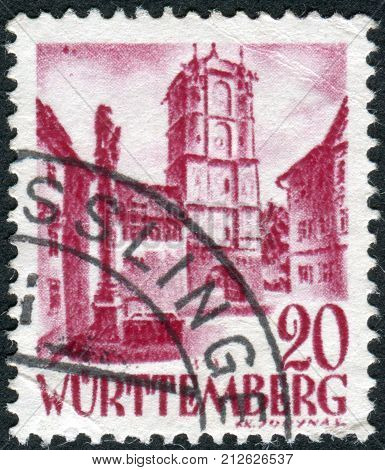 GERMANY - CIRCA 1948: Postage stamp printed in Germany (Wurttemberg-Hohenzollern French occupation zone) shows Town Gate of Wangen (Allgau) circa 1948