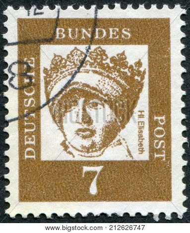 GERMANY - CIRCA 1961: Postage stamp printed in Germany shows portrait of St. Elizabeth of Thuringia (Elizabeth of Hungary) circa 1961