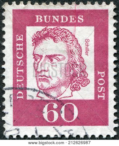 GERMANY - CIRCA 1962: Postage stamp printed in Germany shows portrait of Friedrich von Schiller circa 1962