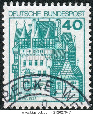GERMANY - CIRCA 1977: Postage stamp printed in Germany shows a medieval castle Eltz circa 1977