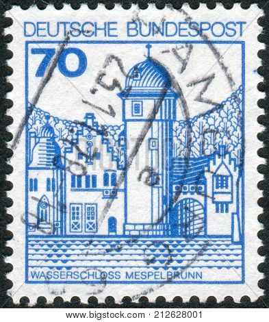 GERMANY - CIRCA 1977: Postage stamp printed in Germany shows Mespelbrunn Castle circa 1977