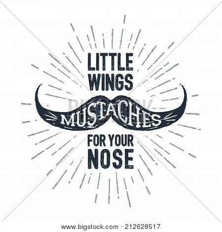Hand drawn mustache textured vector illustration and