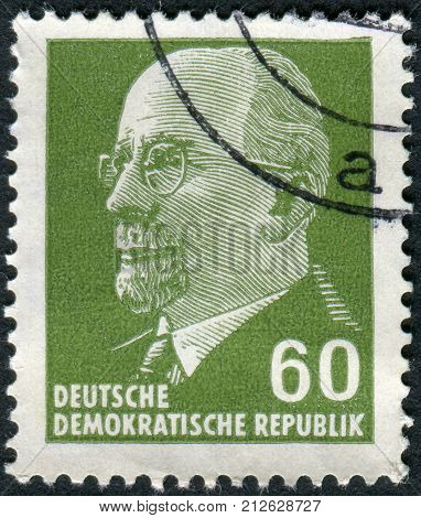 GERMANY - CIRCA 1964: Postage stamp printed in Germany (GDR) shows a German Communist politician and statesman Walter Ulbricht circa 1964
