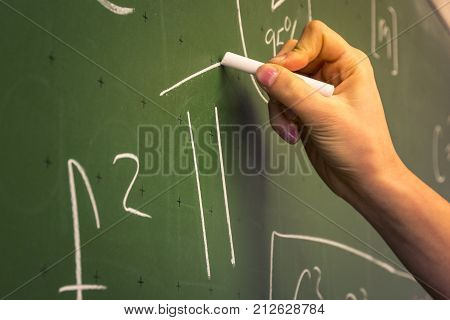 Female Hand Teacher Writing On Green Chalkboard Professor University White Chalk College Education L