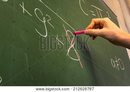 Female Hand Teacher Writing On Green Chalkboard Professor University White Chalk College Education L