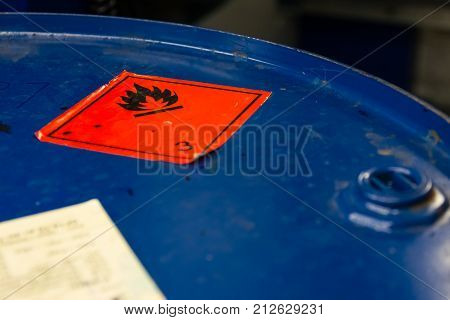 Dangerous Flammable Symbol Barrel Top Industrial Blue Sticker Ignition Combustible