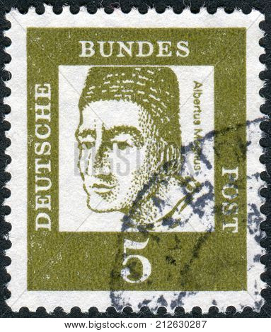 GERMANY - CIRCA 1961: Postage stamp printed in Germany shows portrait of St. Albertus Magnus circa 1961