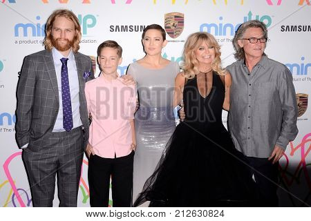 LOS ANGELES - OCT 3:  Wyatt Russell, Ryder Robinson, Kate Hudson, Goldie Hawn, Kurt Russell at the Goldie's Love In For Kids at the Green Acres Estate on October 3, 2017 in Beverly Hills, CA