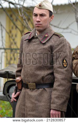 Liberation of Kiev from nazis reenactment.An unidentified person wears historical Soviet uniform . At October 5,2017 in Kiev, Ukraine