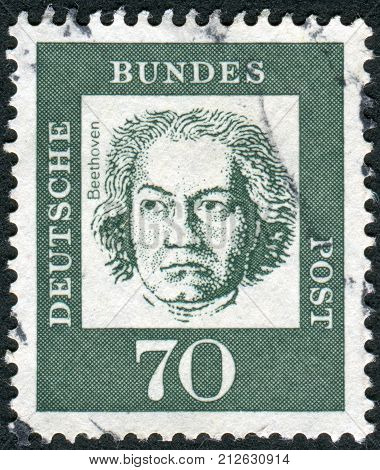GERMANY - CIRCA 1961: Postage stamp printed in Germany shows portrait of Ludwig van Beethoven circa 1961