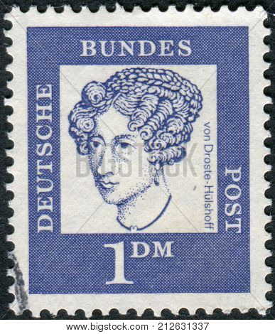 GERMANY - CIRCA 1961: Postage stamp printed in Germany shows portrait of Annette von Droste-Hulshoff circa 1961