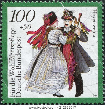 GERMANY - CIRCA 1994: A stamp printed in Germany shows the Traditional Costumes Hoyerswerda Saxony circa 1994