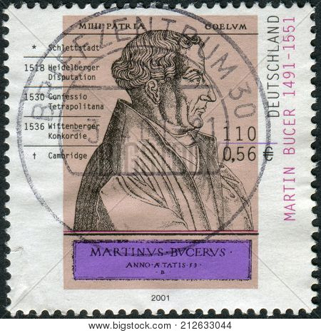 GERMANY - CIRCA 2001: Postage stamp printed in Germany shows Martin Bucer engraving by Rene Boyvin circa 2001