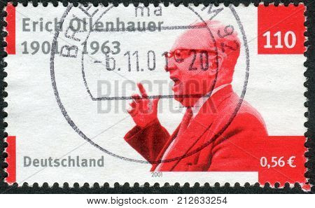 GERMANY - CIRCA 2001: Postage stamp printed in Germany dedicated to the 100th anniversary of the birth Chairman of the Social Democratic Party of Germany Erich Ollenhauer circa 2001