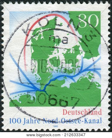 GERMANY - CIRCA 1995: Postage stamp printed in Germany dedicated to centenary Kiel Canal (North-to-Baltic Sea canal) circa 1995