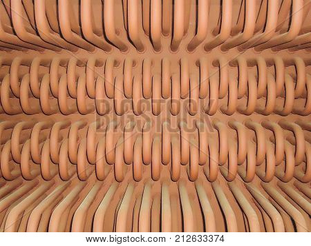 Industrial abstract background. Product of bent steel pipes close-up.