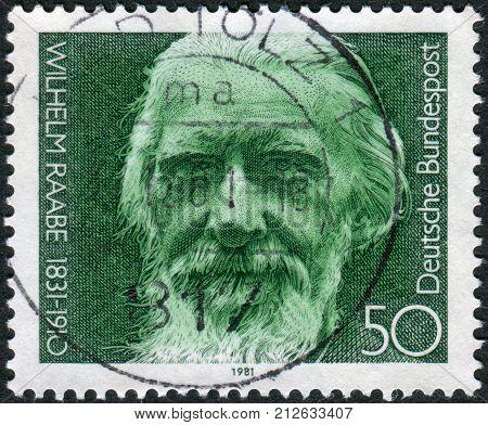GERMANY - CIRCA 1981: Postage stamp printed in Germany shows the poet Wilhelm Raabe circa 1981