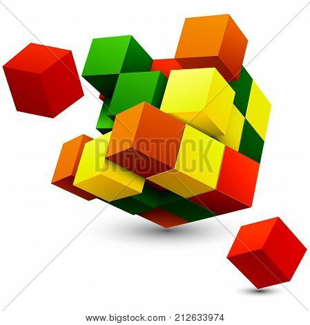 Cube with perspective. 3d model of a cube. Vector illustration. Isolated on a white background