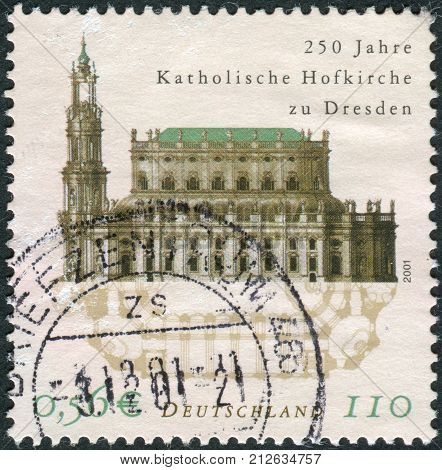 GERMANY - CIRCA 2001: Postage stamp printed in Germany dedicated to the 250th anniversary of the Catholic Court Church Dresden circa 2001