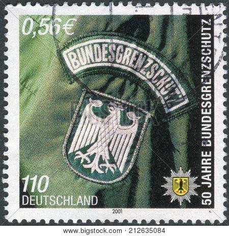 GERMANY - CIRCA 2001: Postage stamp printed in Germany dedicated to the 50th anniversary of the Federal Border Police circa 2001