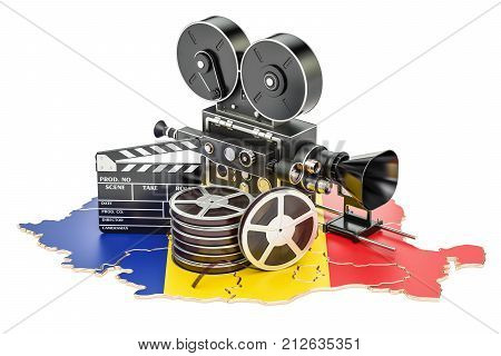 Romanian cinematography film industry concept. 3D rendering isolated on white background