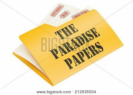 The Paradise Papers leak of data concept. 3D rendering isolated on white background