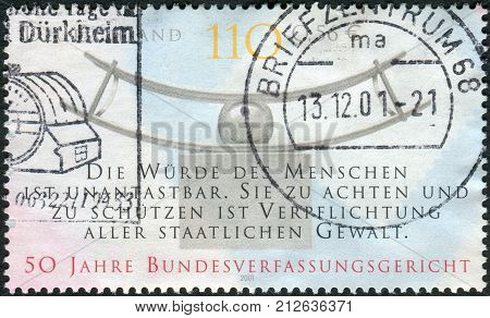 GERMANY - CIRCA 2001: Postage stamp printed in Germany dedicated to the 50th anniversary of the Federal Constitutional Court Karlsruhe circa 2001