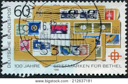 GERMANY - CIRCA 1988: Postage stamp printed in Germany dedicated to the 100th anniversary of the postage stamp for Bethel circa 1988
