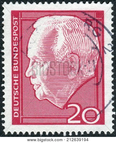 GERMANY - CIRCA 1964: Postage stamp printed in Germany shows the President of West Germany Heinrich Lubke circa 1964