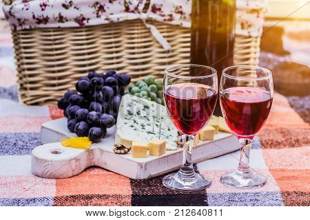 French Picnic. Red Wine With Cheese And Grape.