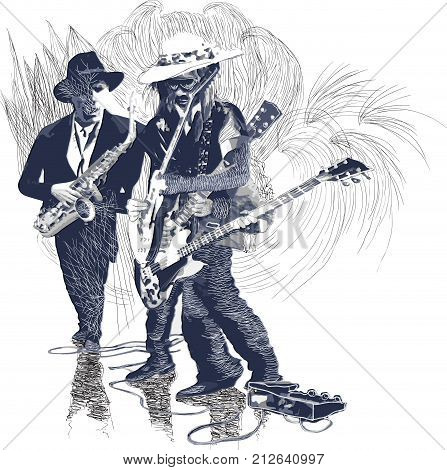 An hand drawn vector illustration. Poster of an musician. Guitar player guitarist and Sax player Guitarist in action - motion study of instrument. Jam Session on the Stage. Picture is editable.