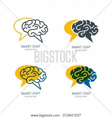 Vector Human Brain And Speech Bubble Logo, Sign, Or Emblem Design. Business Forum, Blog Or Chat Line
