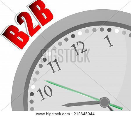 Text B2B. Web Desing Concept . Color Word And Modern Clock On White