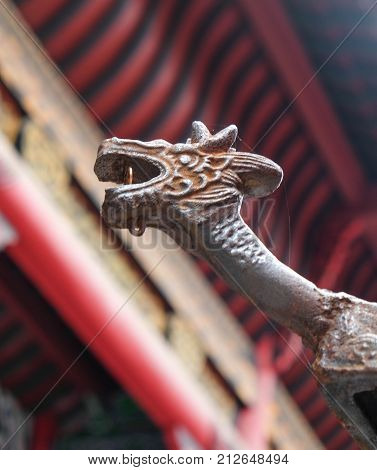 WUHAN China - OCT 14 2017: The statue art old figure at Guiyuan Temple s a Buddhist temple located on Wuhan City Hubei Province of China. It was built in the 15th year of Shunzhi (1658) Qing Dynasty.