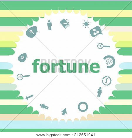 Text Fortune. Business Concept . Infographics Icon Set. Icons Of Maths, Graphs, Mail And So On.