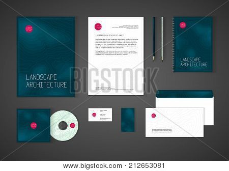 Minimalistic corporate identity template for landscape design, architecture company. Stationery template design for real estate business. Brochure cover, letterhead, envelope, business card, CD cover.