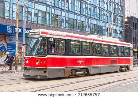 Toronto Canada - Oct 11 2017: Vintage streetcar on Dundas Street downtown in Toronto. Province of Ontario Canada